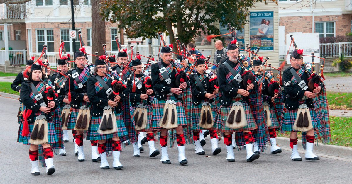 Tartan Day - Cobourg Legion Pipes and Drums marching up Third Street