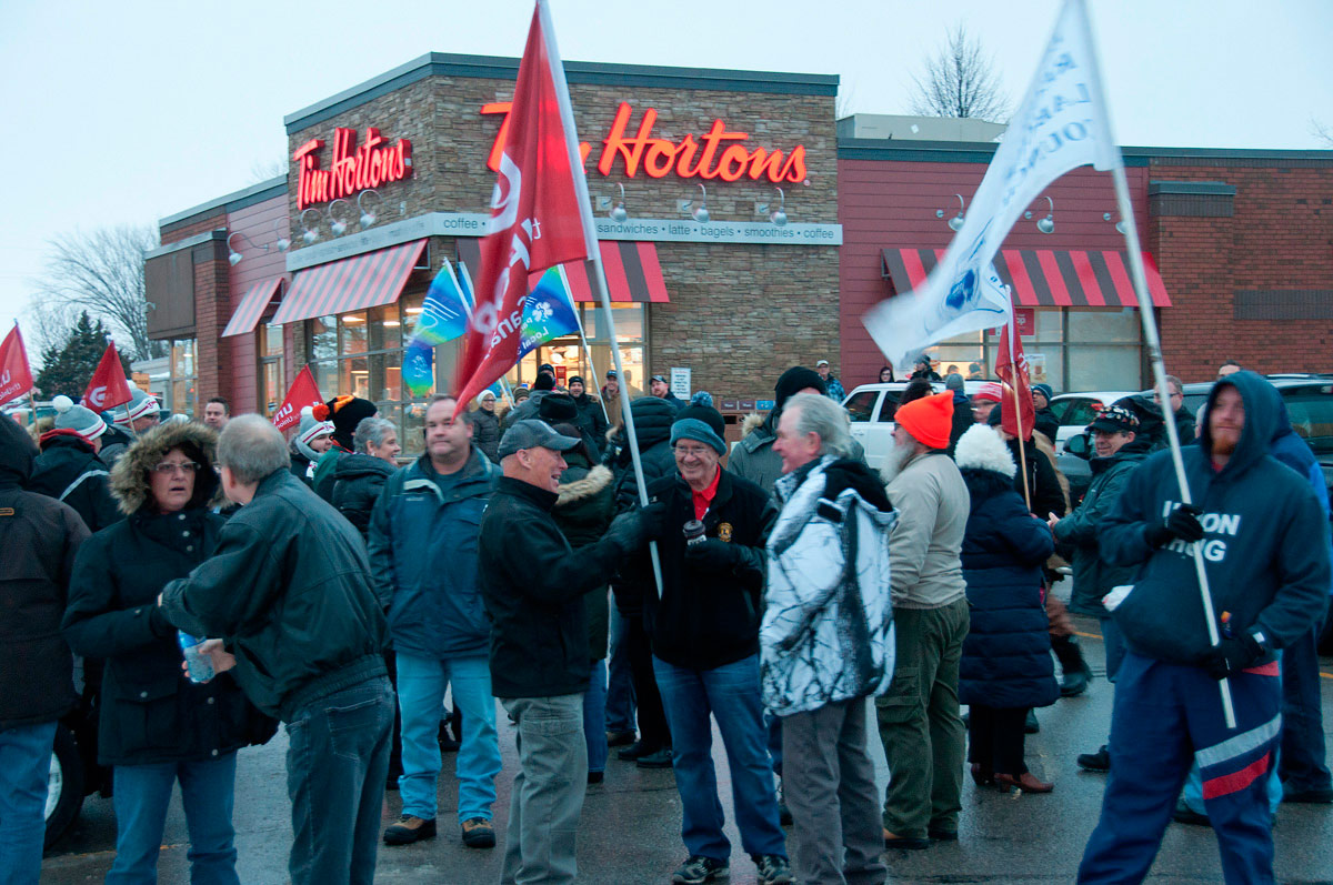 Crowd outside Tim Hortons waiting