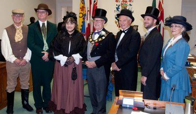 Photo at 1867 re-enactment. L-r: Brian Darling, John Henderson, Suzanne Seguin, Gil Brocanier, Forrest Rowden, Aaron Burchat, Debra McCarthy
