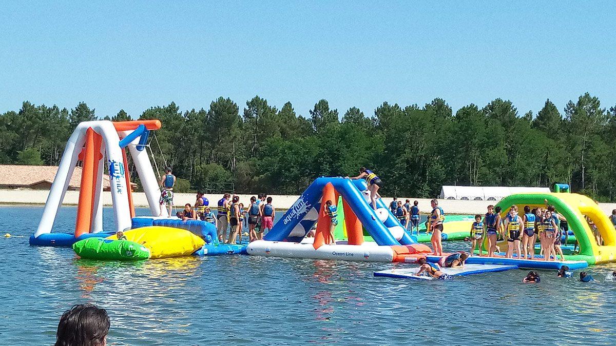 Floating Playground - using lifejackets