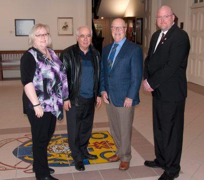 l-r  Wendy Gibson - Ec. Dev.; Lou Rinaldi M.P.P.; Gil Brocanier - Mayor; Adam Bureau - DBIA Chair.