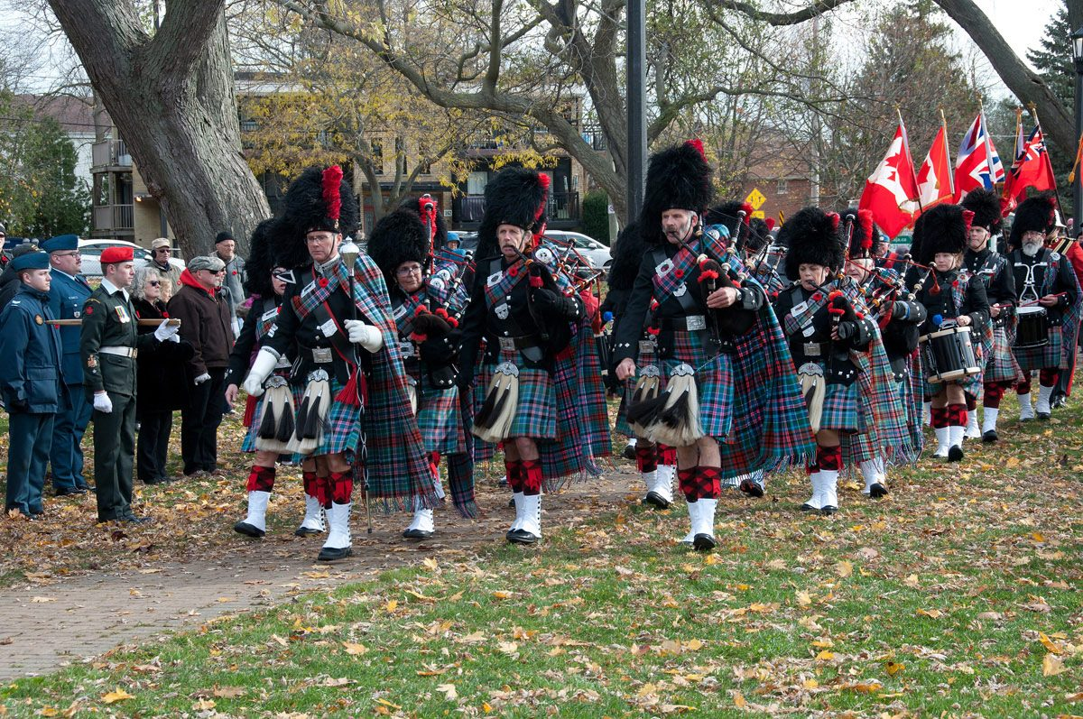 Cobourg Legion Pipes and Drums arriving at the Cenotaph