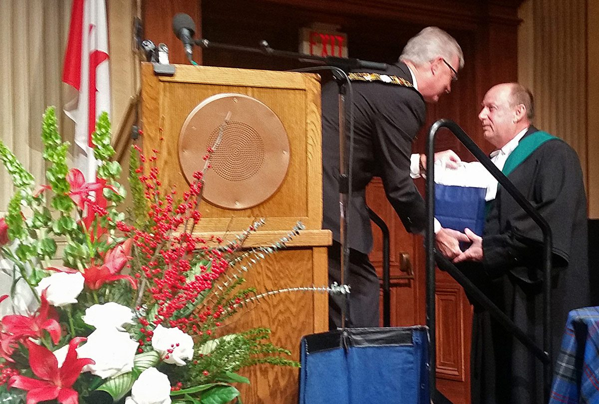 John Henderson thanking Justice of Peace - Jack Le Blanc
