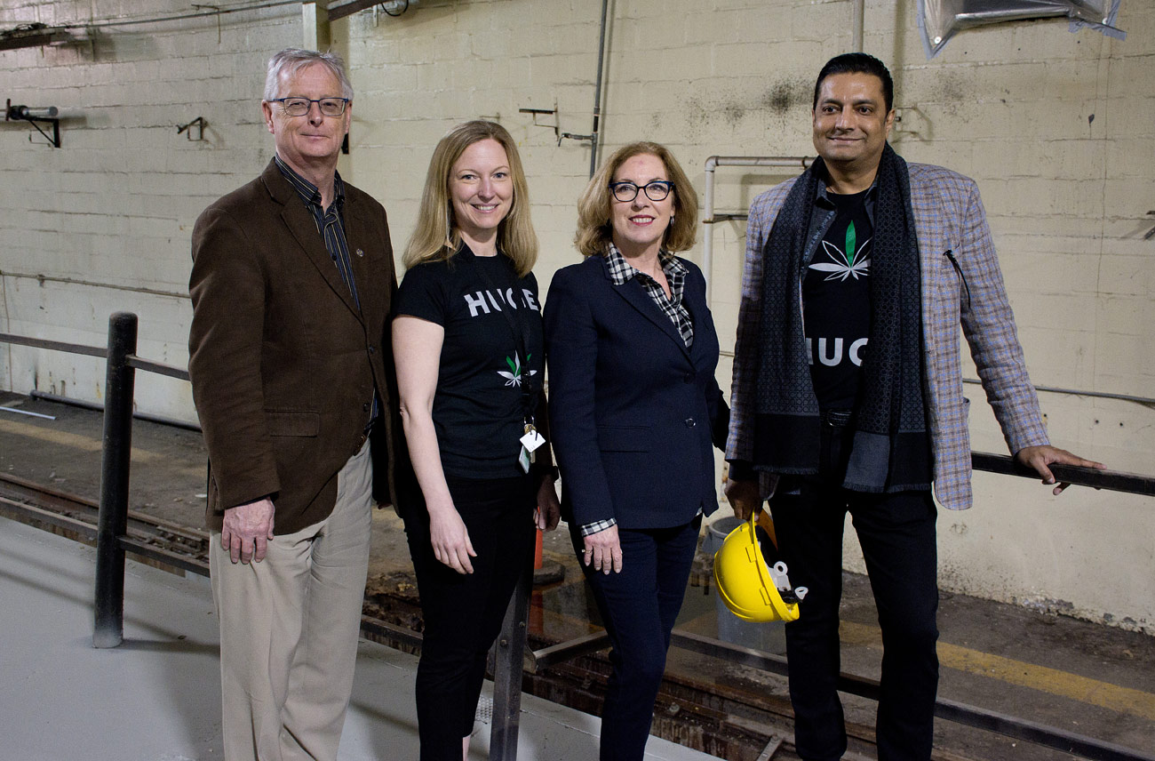 Mayor John Henderson; FV Pharma CEO Dr. Sara May; MP Kim Rudd;  Zeeshan Saeed