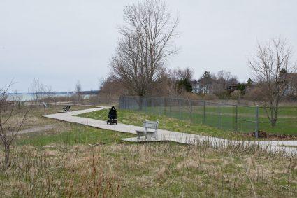 Boardwalk crossing School property