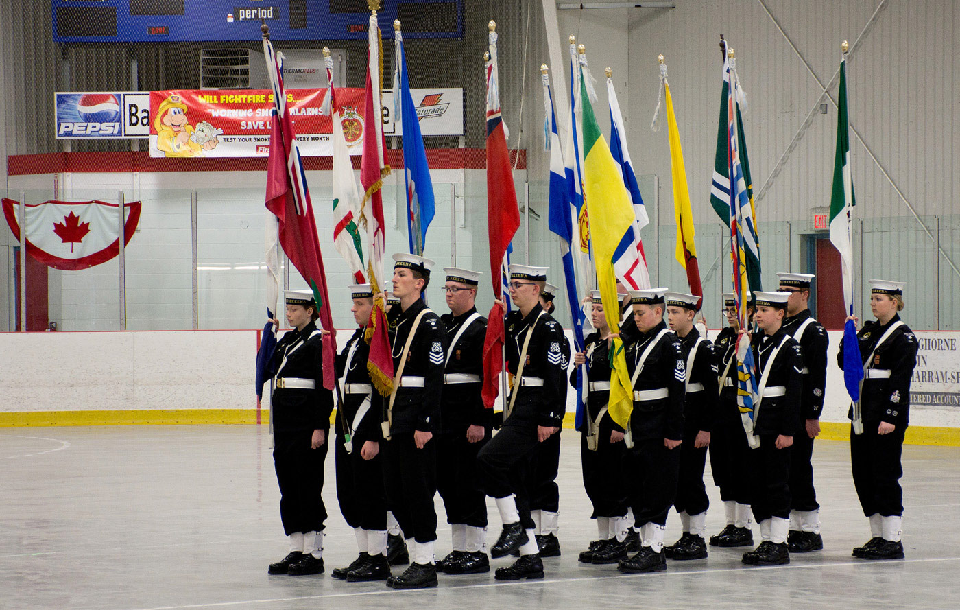 Skeena Sea Cadets - with flags of Confederation