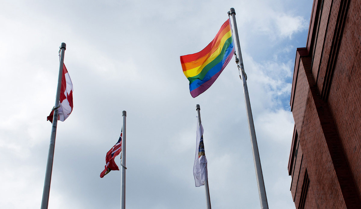 Gay Pride Flag at Police Station