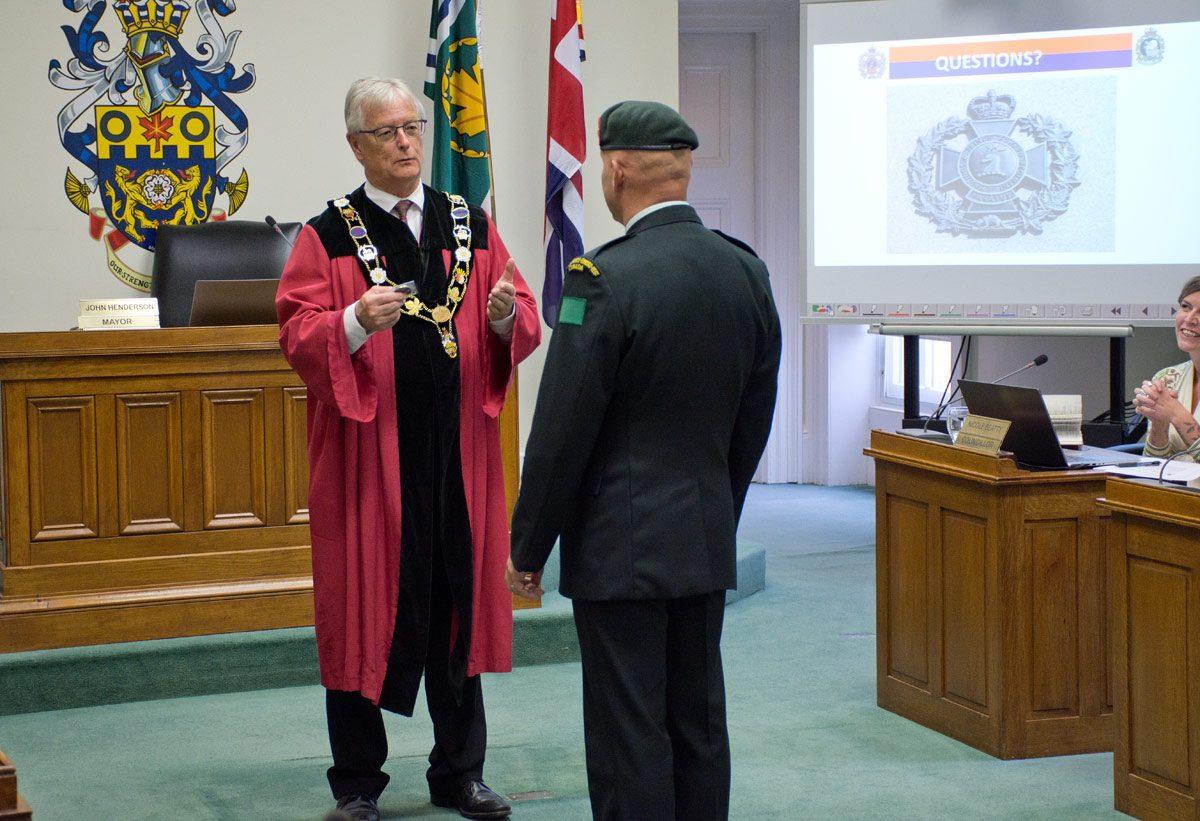 Cobourg Mayor becoming honorary member of regiment