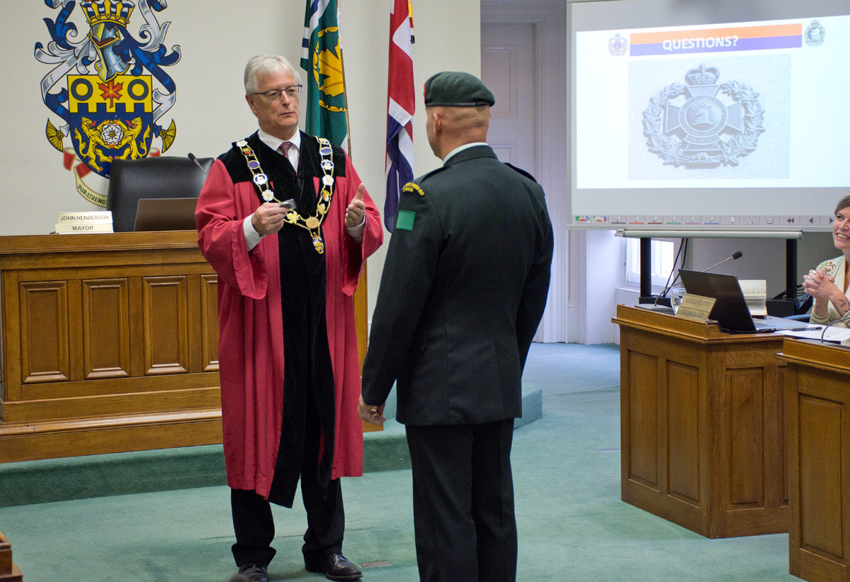 Cobourg Mayor becoming honorary member of regiment