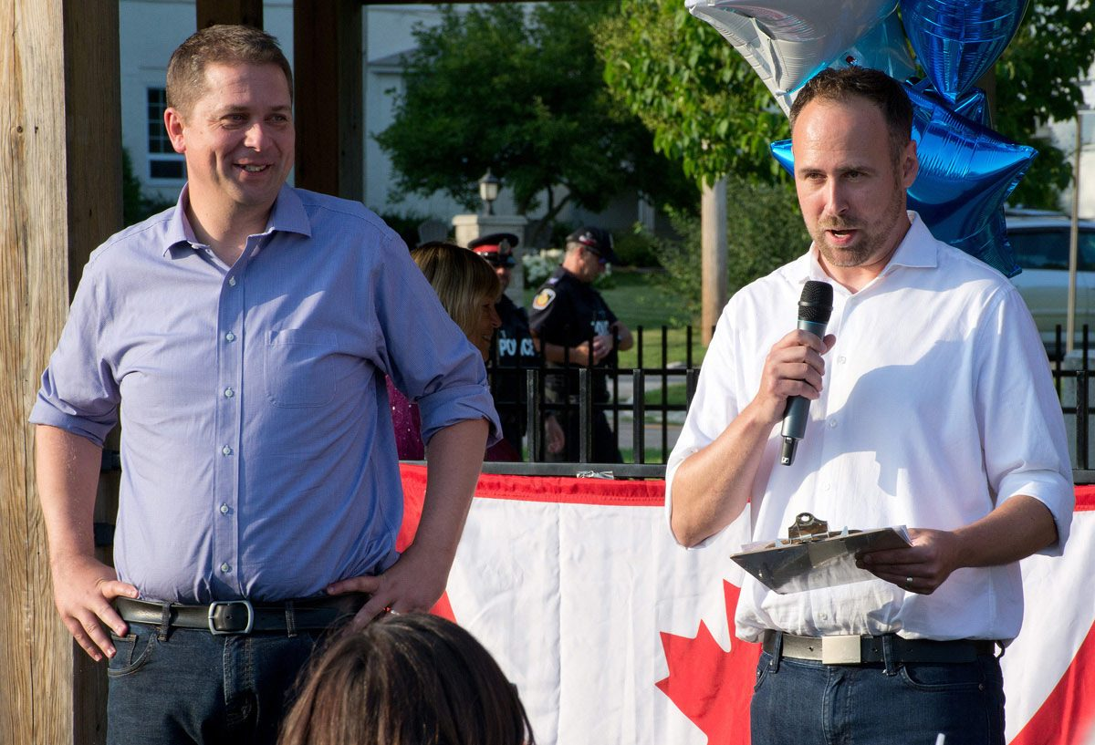 Candidate Philip Lawrence introducing Andrew Scheer