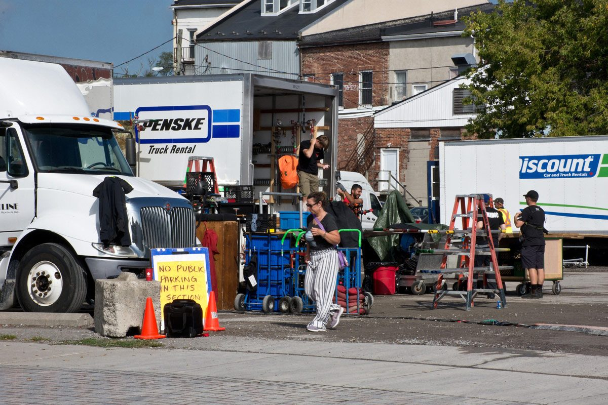 Parking space used by Film Crew