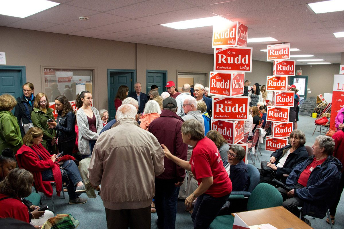 Supporters waiting at Campaign Office