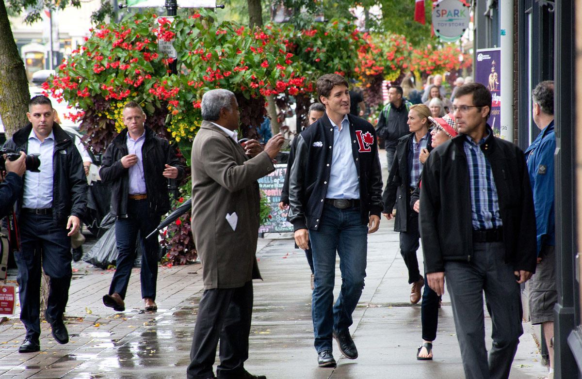 Justin Trudeau walking down King Street