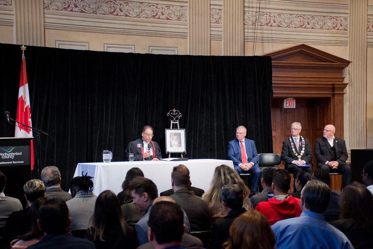 Citizenship ceremony  - Citizenship Judge, Paul Macklin, Mayor John Henderson, Warden Bob Crate