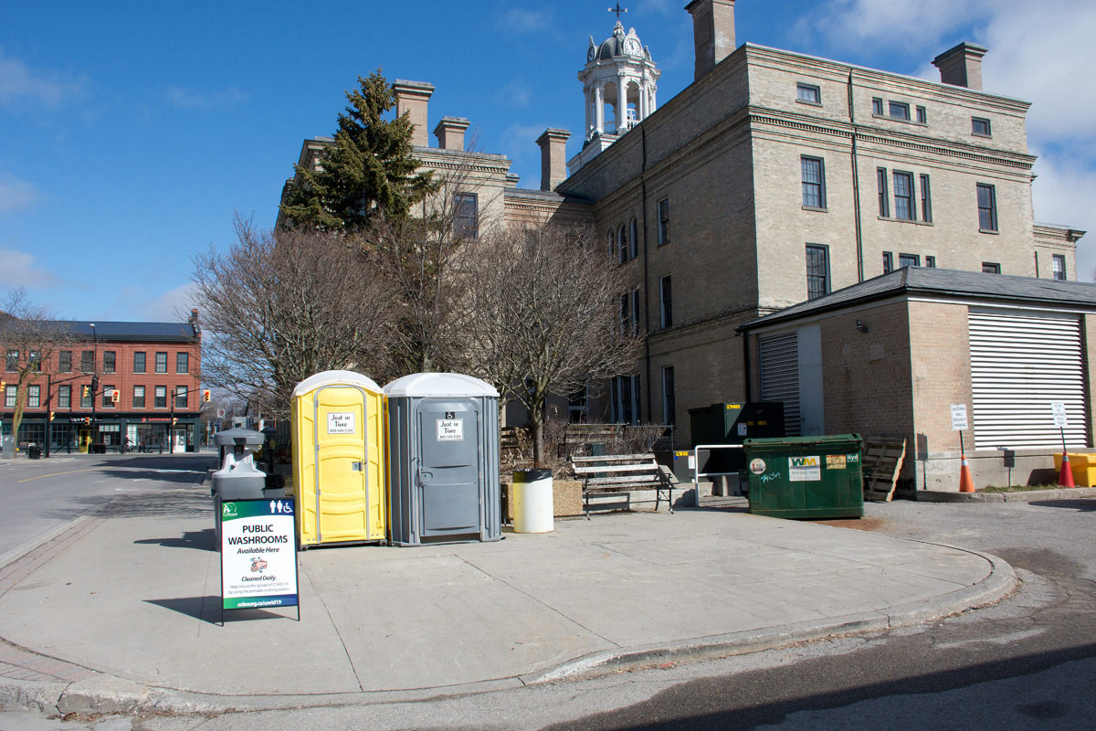 Vic Hall's closed so emergency washrooms are needed
