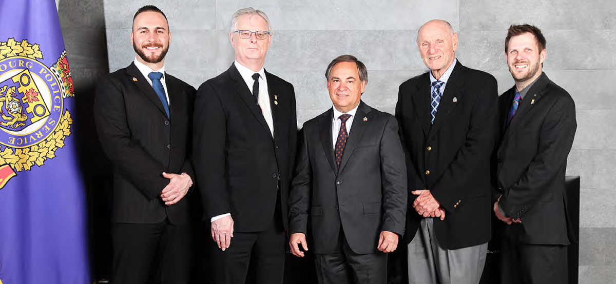 <strong>Cobourg Police Services Board members (l-r) Sean Graham, Mayor John Henderson, Chair Dean Pepper, Vice-Chair Dr. Ron Kerr, Councillor Aaron Burchat</strong>